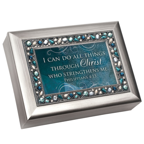 """8"""" Silver Colored and Green Topaz Jewel Boarded Rectangular """"Christ"""" Printed Musical Box - IMAGE 1"""