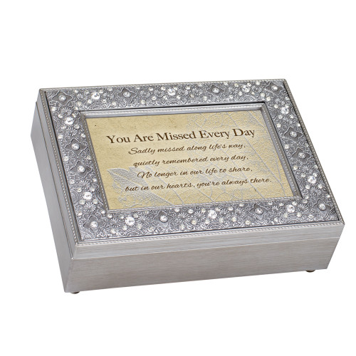 """8"""" Beige and Silver Colored Rectangular Religious Musical Keepsake Box - IMAGE 1"""