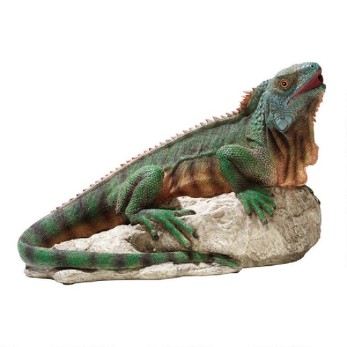 """16"""" Iguana Spitter Piped Hand-Painted Outdoor Garden Statue - IMAGE 1"""