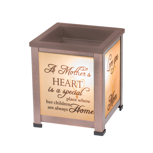 """5"""" Chocolate Brown Mother's Love Themed Cuboid Glass Warmer - IMAGE 1"""