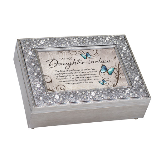 """8"""" Ivory and Gray Daughter in Law You Are Loved Music Box - IMAGE 1"""