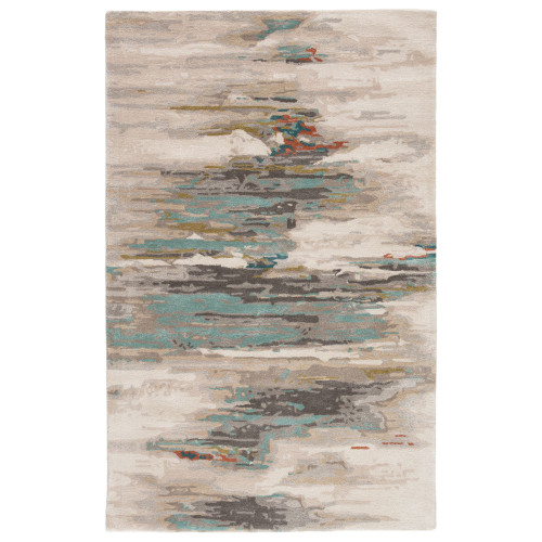 5' x 8' Gray and Blue Contemporary Hand Tufted Rectangular Area Throw Rug - IMAGE 1