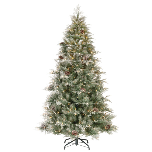 7.5' Pre-Lit PowerConnect Frosted Mountain Spruce Artificial Christmas Tree - Clear Lights - IMAGE 1