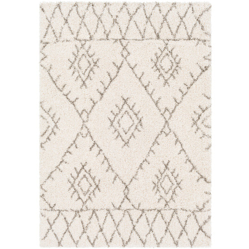 "5'3"" x 7'3"" Tribal Geometric Design Ivory and Brown Rectangular Area Throw Rug - IMAGE 1"