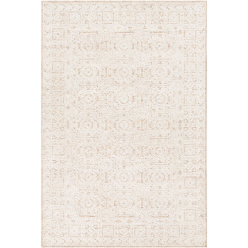 6' x 9' Brown and Beige Geometric Patterned Rectangular Hand Tufted Area Rug - IMAGE 1