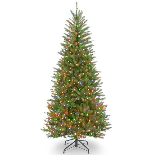 6.5' Pre-lit Dunhill Fir Slim Artificial Christmas Tree – Multicolor Lights - IMAGE 1