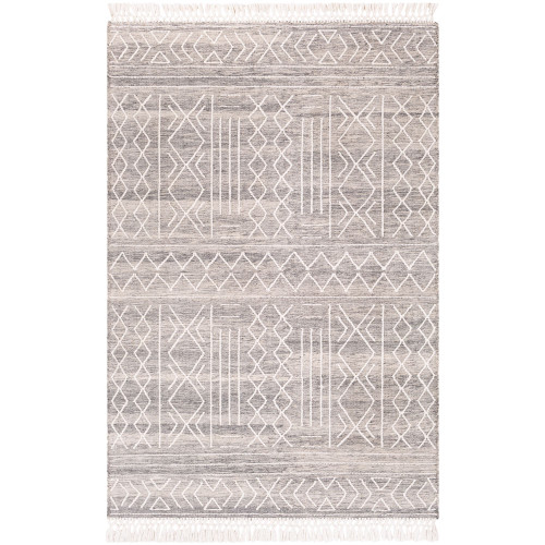 2' x 3' Diamond Patterned Ivory and Charcoal Gray Area Throw Rug - IMAGE 1