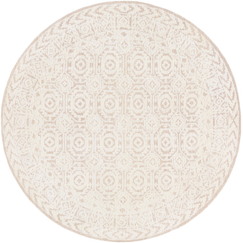 8' Brown and Beige Geometric Patterned Round Hand Tufted Area Rug - IMAGE 1