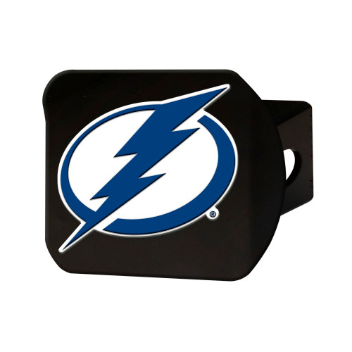 """4"""" Black and White NHL Tampa Bay Lightning Hitch Cover - IMAGE 1"""