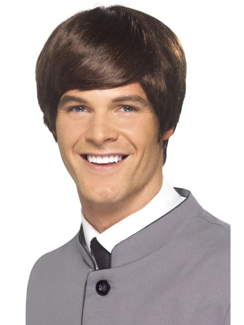 """26"""" Brown 1960's Style Mod Short Men Adult Halloween Wig Costume Accessory - One Size - IMAGE 1"""