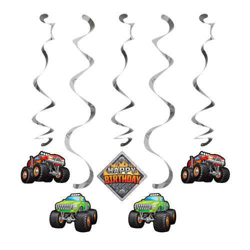 "Club Pack of 30 Red and Green Monster Truck Themed Dizzy Danglers 39"" - IMAGE 1"