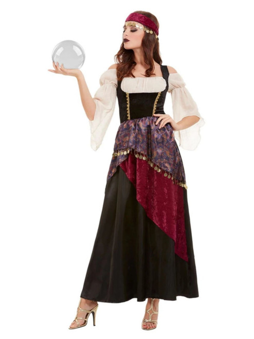 """49"""" Black and White Fortune Teller Women Adult Halloween Costume - XS - IMAGE 1"""
