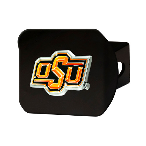 """4"""" Black and Orange NCAA Oklahoma State Cowboys Hitch Cover - IMAGE 1"""