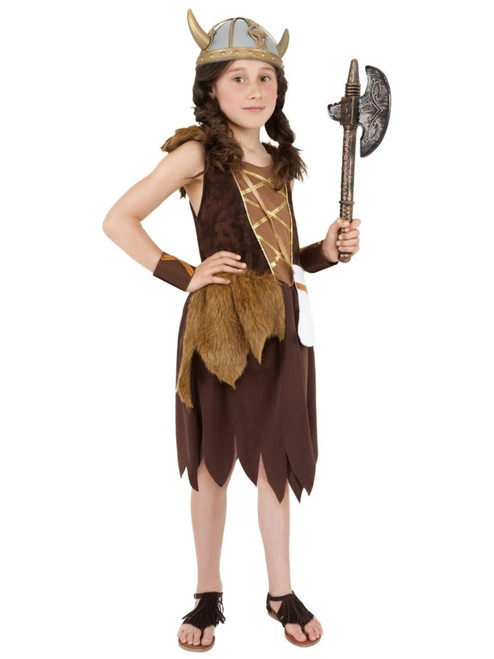 """49"""" Brown and Gold Viking Girls Child Halloween Costume - Large - IMAGE 1"""