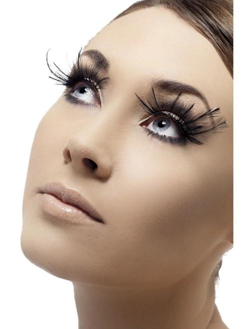 "11"" Black Feather Plumes Women Adult Halloween Eyelashes Costume Accessory - One Size - IMAGE 1"