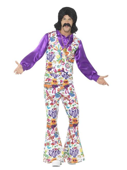 "40"" White and Purple 1960's Style Groovy Hippie Men Adult Halloween Costume - Medium - IMAGE 1"