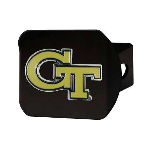 """4"""" Black and Yellow NCAA Georgia Tech Yellow Jackets Hitch Cover - IMAGE 1"""