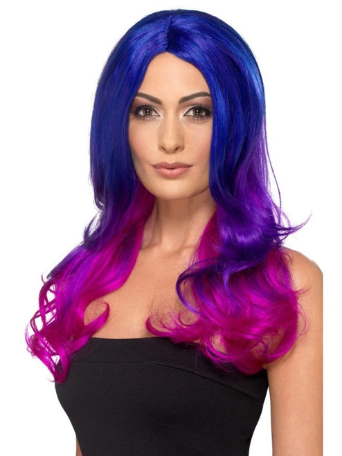 """26"""" Blue and Pink Fashion Ombre Women Adult Halloween Wig Costume Accessory - One Size - IMAGE 1"""
