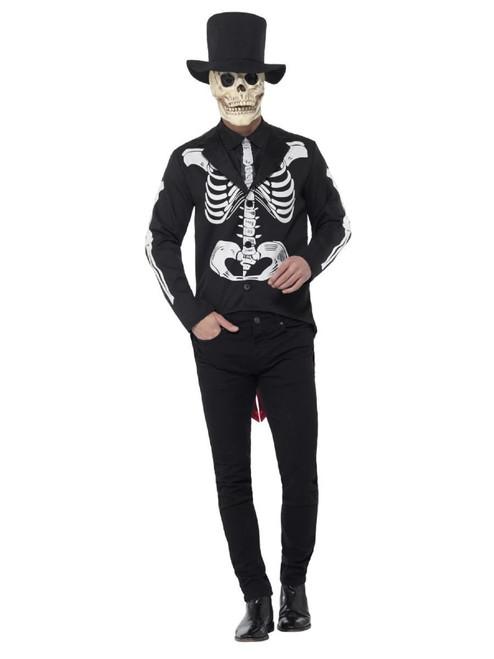 "48"" Black and White Senor Skeleton Men Adult Halloween Costume - XL - IMAGE 1"