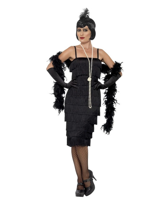 """44"""" Black Flapper Women Adult Halloween Costume with Headband and Gloves - Large - IMAGE 1"""