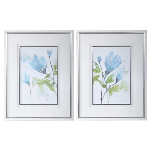 """Set of 2 Blue and Green Floral Rectangular Hand Painted Wall Art 36"""" x 28"""" - IMAGE 1"""