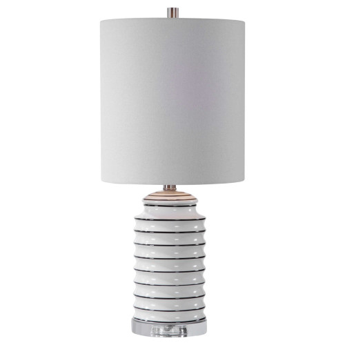 """25"""" Contemporary Table Lamp with White Drum Shade - IMAGE 1"""