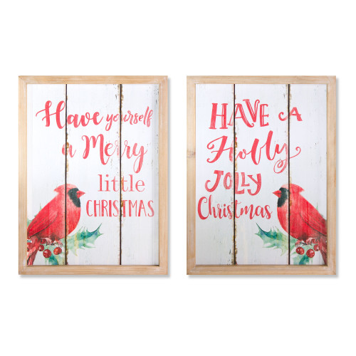 """Pack of 2 White and Red Christmas Greetings Plaque (2 Assorted) 17.75"""" - IMAGE 1"""