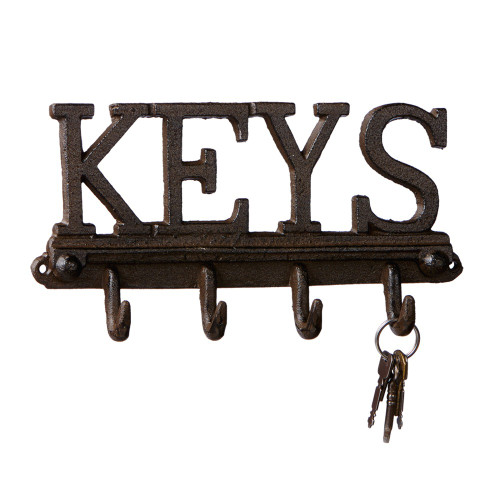 "Set of 2 Chocolate Brown Wall Mounted Key Hooks 10.5"" - IMAGE 1"