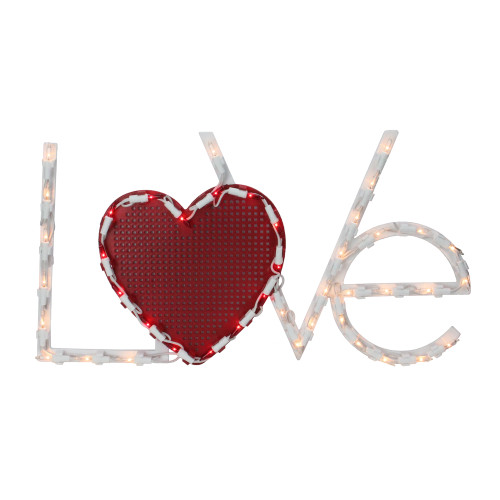 "17"" Lighted White and Red ""LoVe"" with Heart Valentine's Day Window Silhouette Decoration - IMAGE 1"