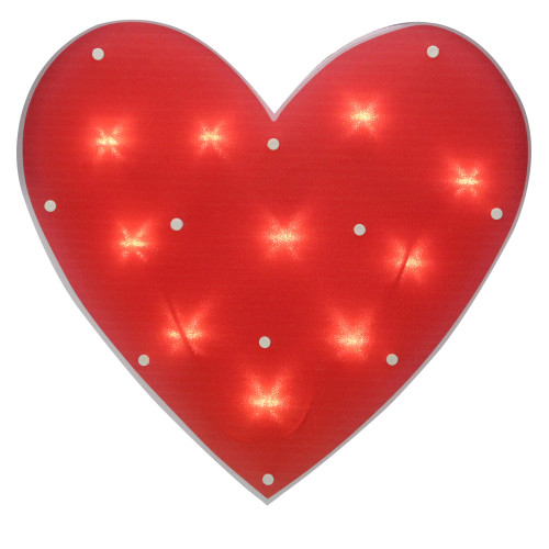"14.25"" Lighted Red Heart Valentine's Day Window Silhouette Decoration - IMAGE 1"