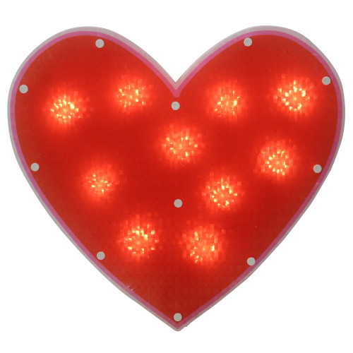 "13"" Lighted Shimmering Red Heart Valentine's Day Window Silhouette Decoration - IMAGE 1"