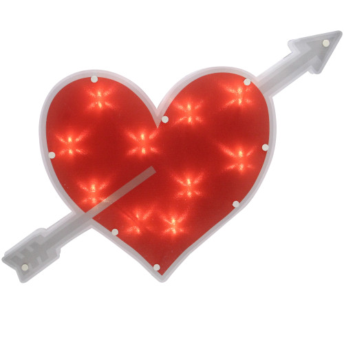 "18"" Lighted Red Heart with Arrow Valentine's Day Window Silhouette Decoration - IMAGE 1"