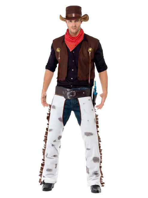 "49"" Black and White Cowboy Halloween Costume - Large - IMAGE 1"