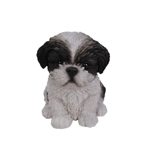 """7.25"""" Black and White Puppy Decorative Outdoor Figurine - IMAGE 1"""