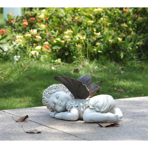 """11.75"""" White and Brown Baby Fairy Sleeping Outdoor Garden Statue - IMAGE 1"""