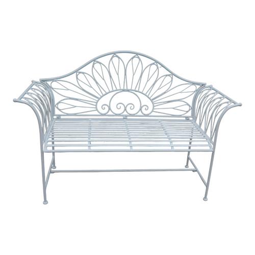 """53.75"""" White Contemporary Outdoor Patio Garden Bench - IMAGE 1"""