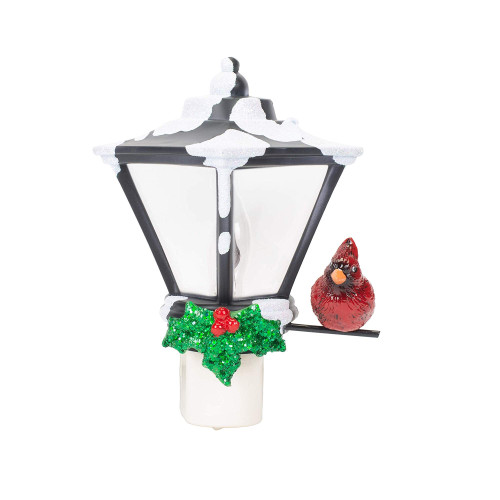 "6"" Cardinal on a Snow Covered Street Lamp Flickering Christmas Night Light - IMAGE 1"