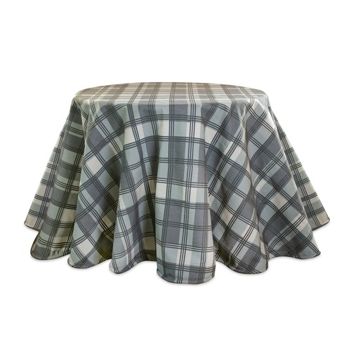 """94"""" Gray and Beige Deer Plaid Table Cloth - IMAGE 1"""