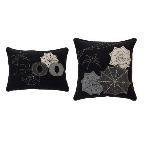 """Set of 2 Black and Gray Polyester Halloween Spider Web Comfortable Pillows, 17"""" - IMAGE 1"""
