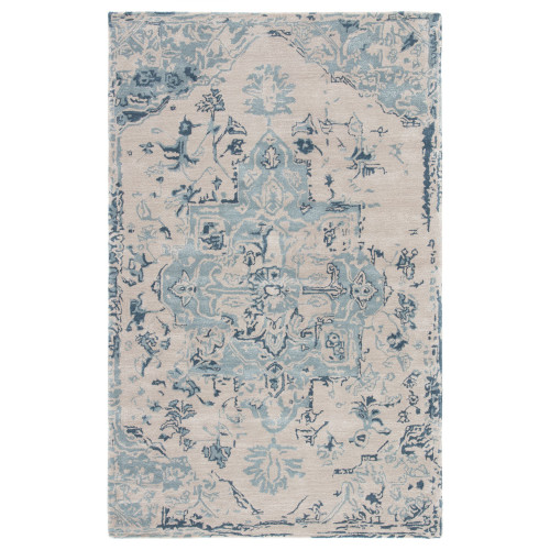 8' x 10' Blue and Beige Transitional Hand Tufted Rectangular Area Throw Rug - IMAGE 1