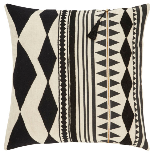 """22"""" Beige and Black Geometric Square Throw Pillow - IMAGE 1"""