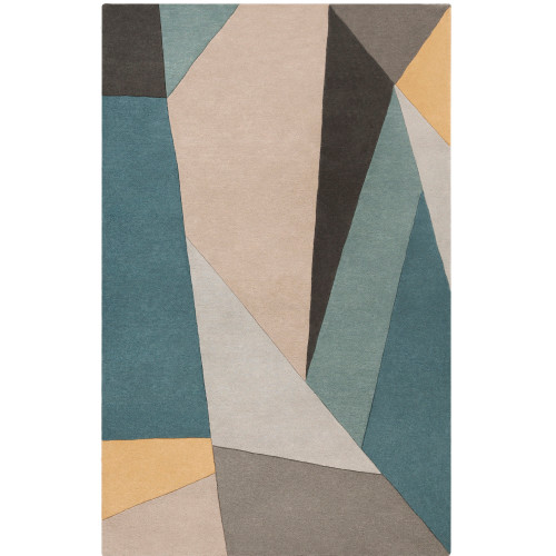5' x 8' Geometric Triangular Pattern Brown and Teal Rectangular Hand Tufted Wool Area Throw Rug - IMAGE 1