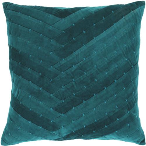 """22"""" Aegean Blue Velvet Square Decorative Throw Pillow Cover - IMAGE 1"""