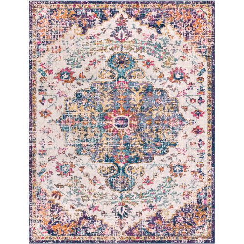 """9'3"""" x 12'6"""" Distressed Persian Medallion Design Beige and Blue Rectangular Machine Woven Area Rug - IMAGE 1"""