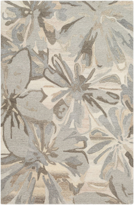 8' x 11' Floral Gray and Beige Hand Tufted Rectangular Area Throw Rug - IMAGE 1