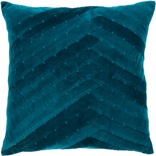 """22"""" Aegean Blue Stitched Square Throw Pillow - Down Filler - IMAGE 1"""