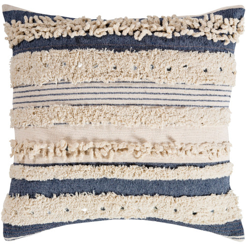 """20"""" Blue and Beige Striped Pattern Square Throw Pillow Cover with Knife Edge - IMAGE 1"""