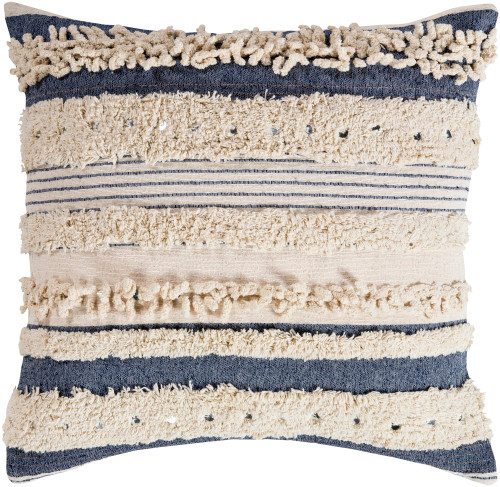 "20""  Navy Blue and Cream Striped Pattern Square Throw Pillow - Poly Filled - IMAGE 1"