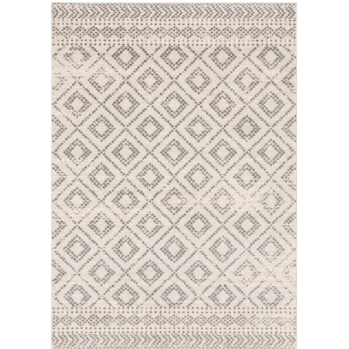 """5'3"""" x 7'3"""" Diamond Patterned Light Gray and White Synthetic Area Throw Rug - IMAGE 1"""
