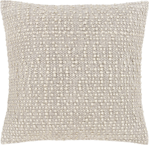 """20"""" Beige and Cream White Textured Square Throw Pillow - Poly Filled - IMAGE 1"""